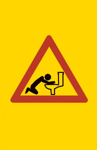 Varoitus oksentaja pytyllä